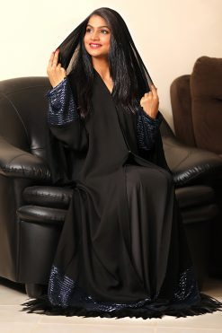 Abaya with Blue Sequence and Feathers