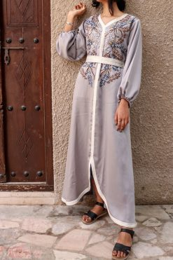 Grey Moroccan Kaftan Dress