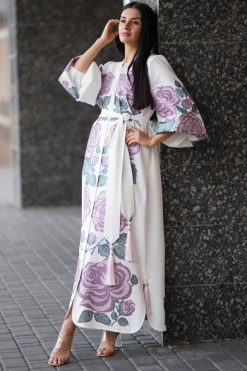 White Embroidered Kaftan Dress