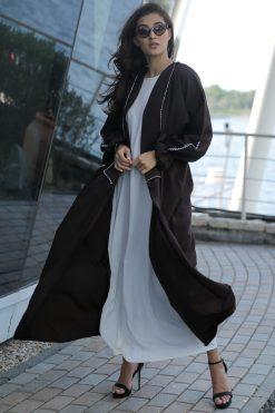 Brown Abaya with Thread