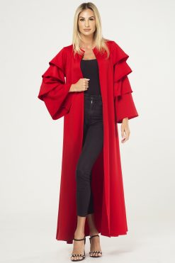 RED Ruffled Sleeves Cape