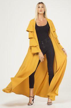 Yellow Ruffled Sleeves Cape