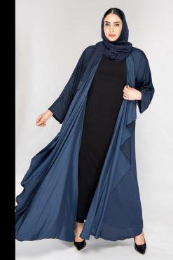 Flowy Silk Blue Abaya