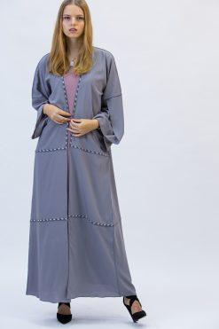 Bluish Grey Bisht Abaya