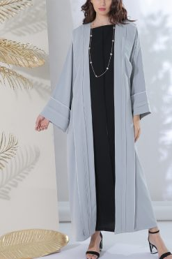 Light Grey Crepe Abaya
