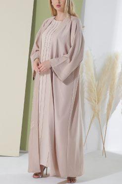 Crepe Nude Beige Abaya
