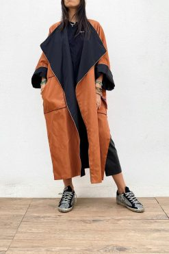 Winter Orange And Black Bisht