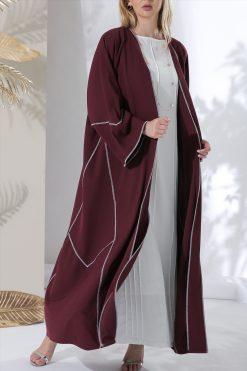 Maroon Open Abaya
