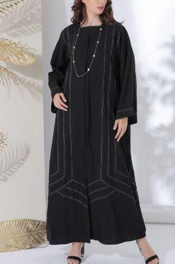 Contrast Stitching Black Abaya