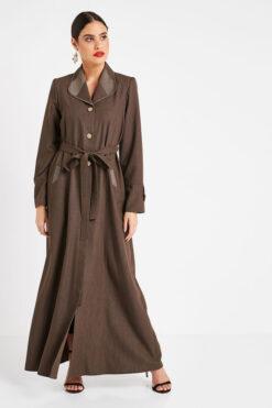 Brown Collar Turkish Abaya