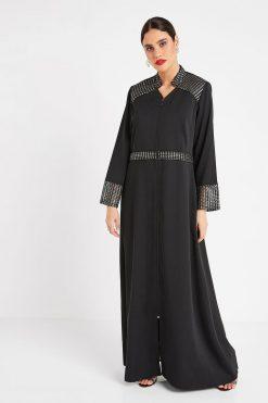 Black Collar Turkish Abaya