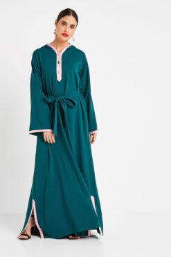 Green Collar Turkish Abaya