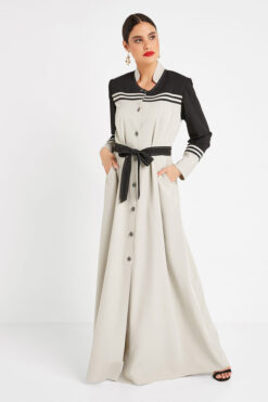 Grey Collar Turkish Abaya