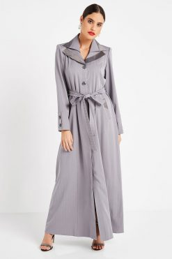 Dark Grey Collar Turkish Abaya