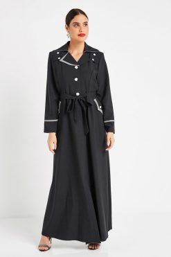 Black Turkish Abaya with Collar