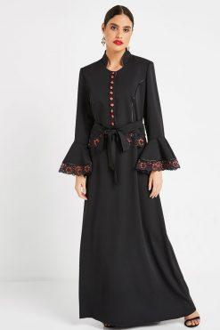 Black Turkish Abaya with Belt