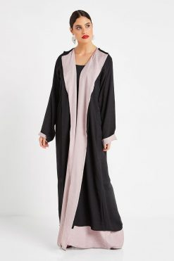 Taupe & Black Bisht Style Abaya