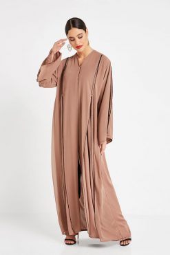 Brown Beads Embellished Abaya