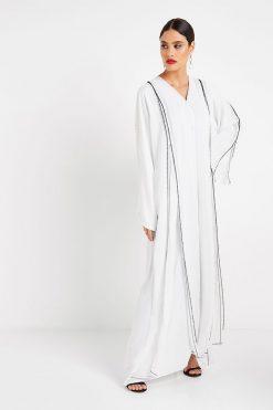 White Beads Bmbellished Abaya