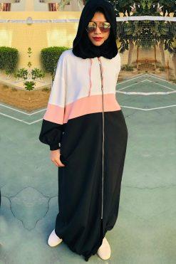 Sporty Pink Strips Abaya