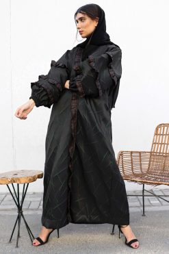 Black And Green Bisht Abaya