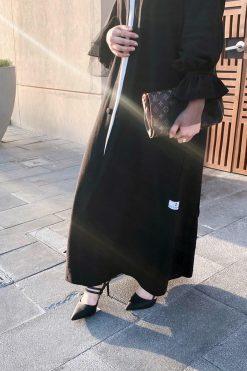 Washed Silk Black Abaya