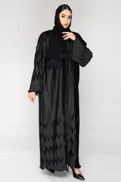 Silk Pleated Black Abaya