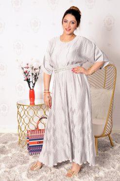 Satin Pleated Maxi Dress with lulu belt