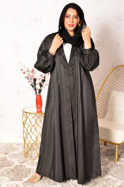 Button Embellished Collar Abaya