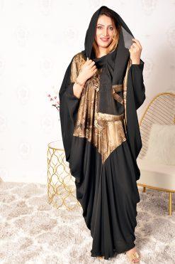 Brown printed Bahrini Abaya