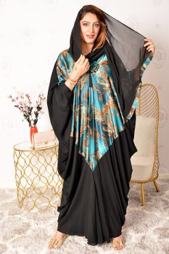 Teal printed Bahrini Abaya