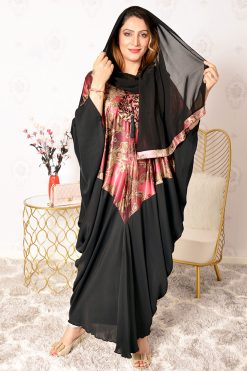 Rose printed Bahrini Abaya