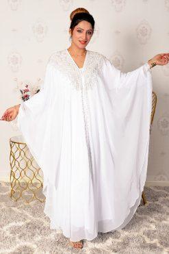 Pearls And Beads White Abaya