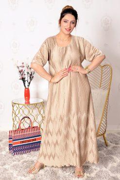Satin pleated Gold Dress