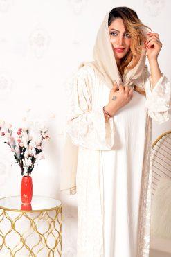 Cream Embossed Print Abaya