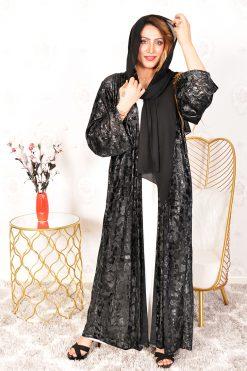 Black Embossed Print Abaya