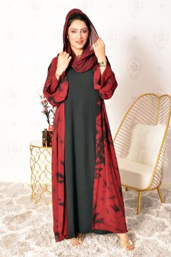 Tie-dye Bisht Abaya Set