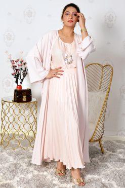 4-Pieces Pink Modest Abaya Set