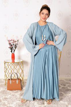 4-Pieces Denim Abaya Dress