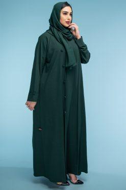 Green Crepe Open Abaya
