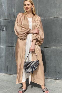 Nude Shimmer Abaya Set