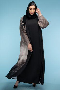 Beige Color Abaya Set