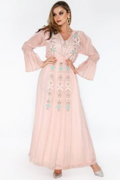 BLOSSOM Pink Jalabiya Dress