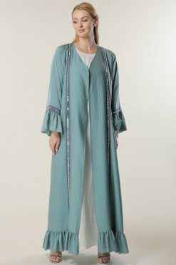 Green Abaya with Lace