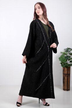 Bisht Style Black Abaya