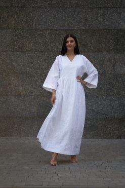 Linen White Kaftan Dress