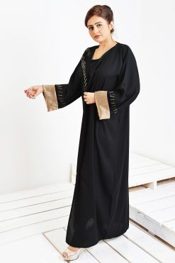 Beads work Black Abaya
