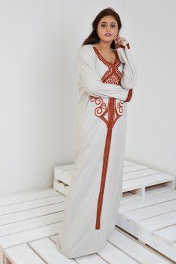 Beige Jalabiya Embroidered