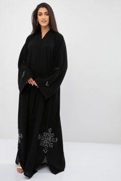 Beads Embellished Black Abaya