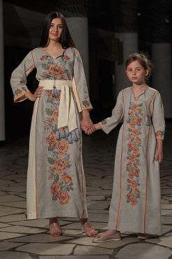 Embroidered Kaftan Dress